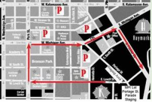 Parade Route for the Kalamazoo Holiday Parade in Kalamazoo Michigan